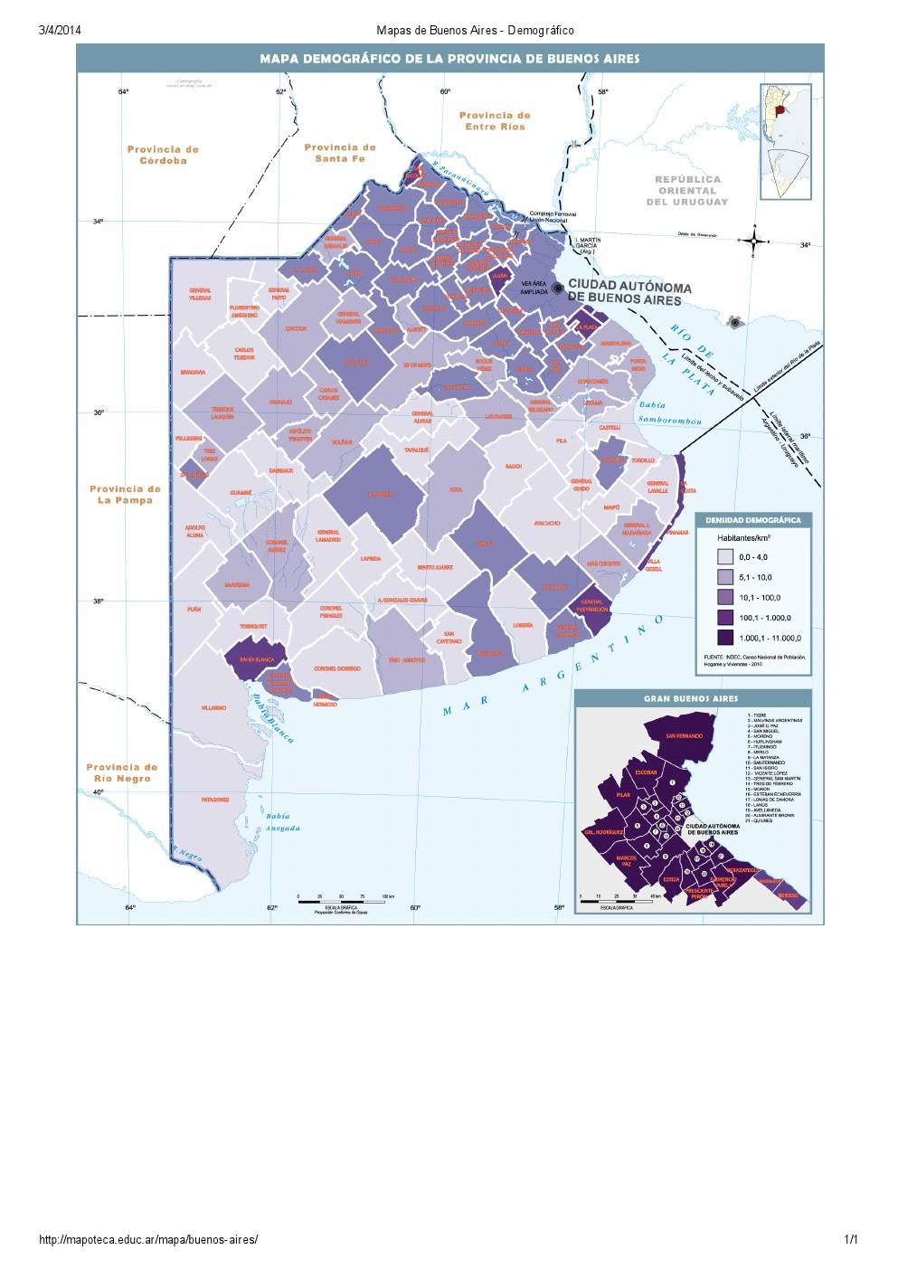 Mapa demográfico de Buenos Aires. Mapoteca de Educ.ar