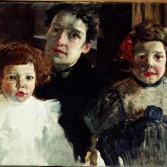 Clotilde con María y Joaquín Sorolla García