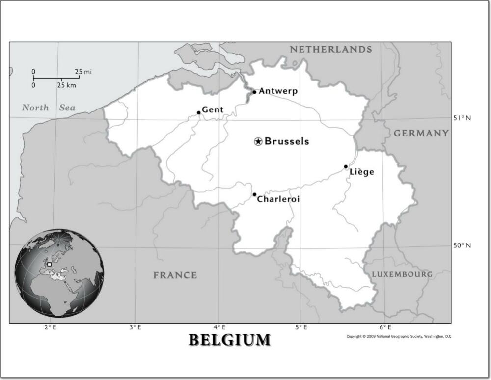 Mapa de ríos de Bélgica. National Geographic