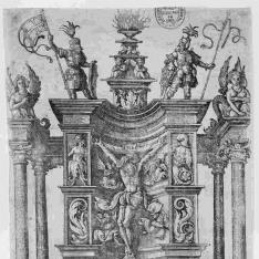 La crucifixión situada en un nicho