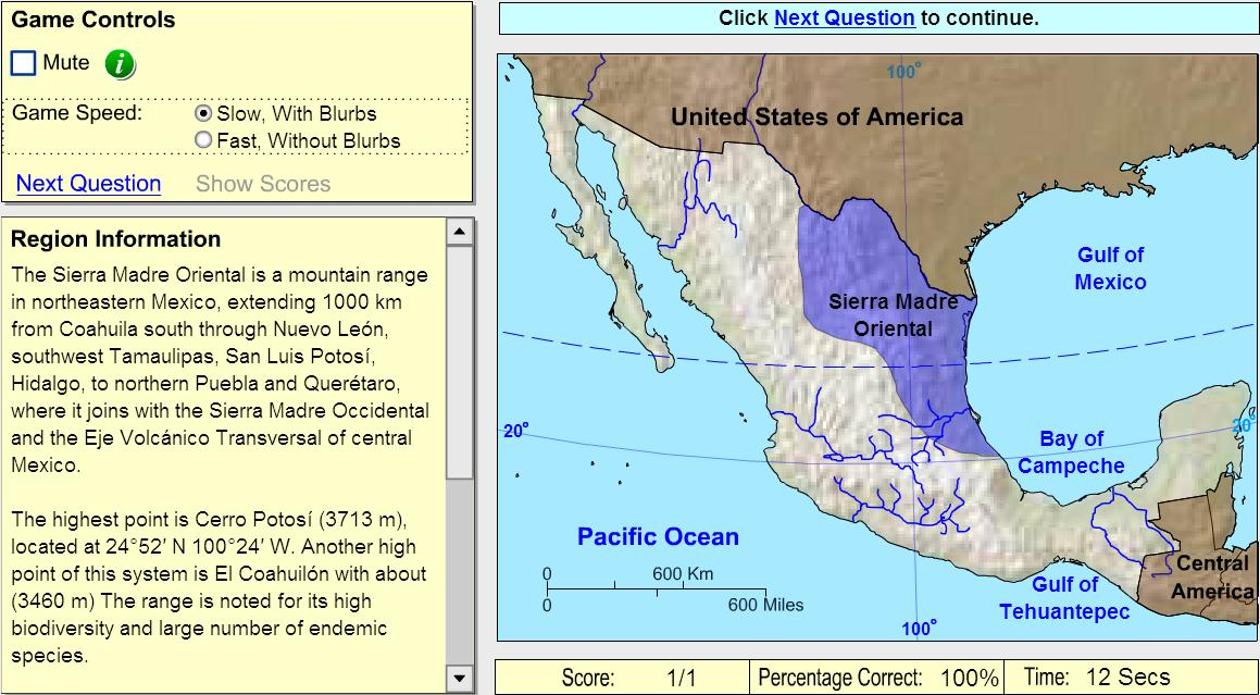 Geographic regions of Mexico. Game. Sheppard Software