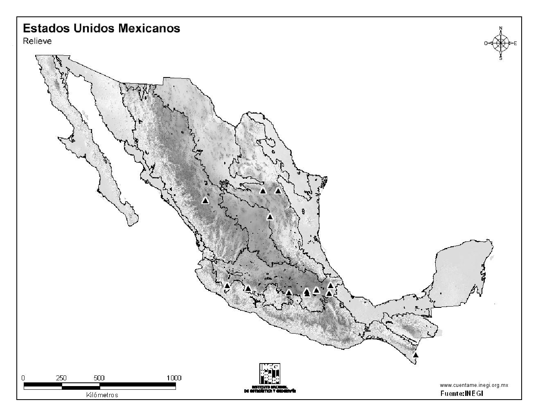 Mapa mudo de montañas de México. INEGI de México