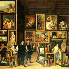La visita del Archiduque Leopoldo Guillermo a su gabinete, acompañado de David Teniers el joven