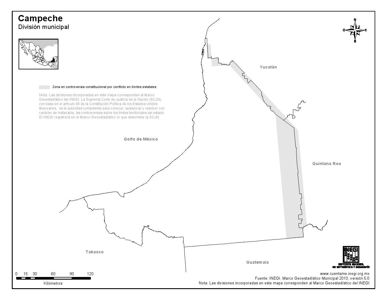 Mapa mudo de Campeche. INEGI de México