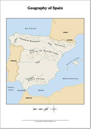 Mapa de ríos y montañas de España. WorksheetWorks