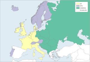 Mapa de Europa: Organizaciones de integración económica 1973. Learn Europe
