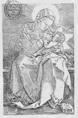 La Virgen con el Niño en un banco de cesped
