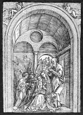 La Sagrada Familia con dos ángeles, en una estancia abovedada
