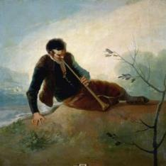 Pastor tocando la dulzaina