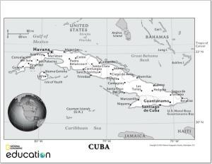 Mapa de ciudades y capitales de Cuba. National Geographic