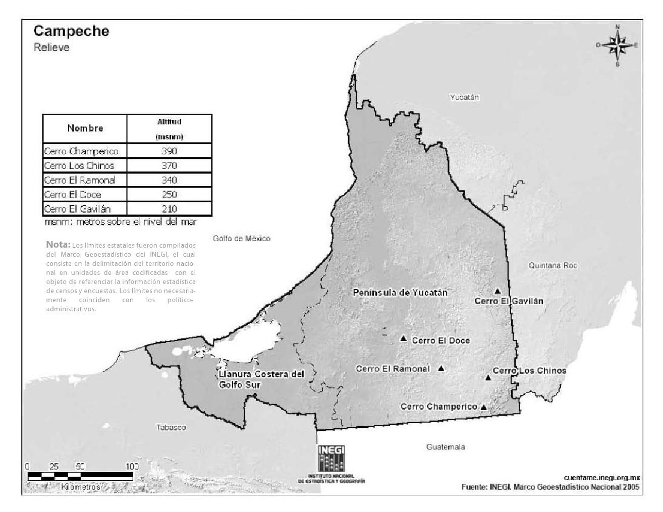 Mapa de montañas de Campeche. INEGI de México