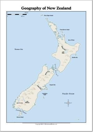 Mapa de ríos y lagos de Nueva Zelanda. WorksheetWorks