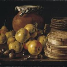 Bodegón: manzanas, peras, cajas de dulce y recipiente