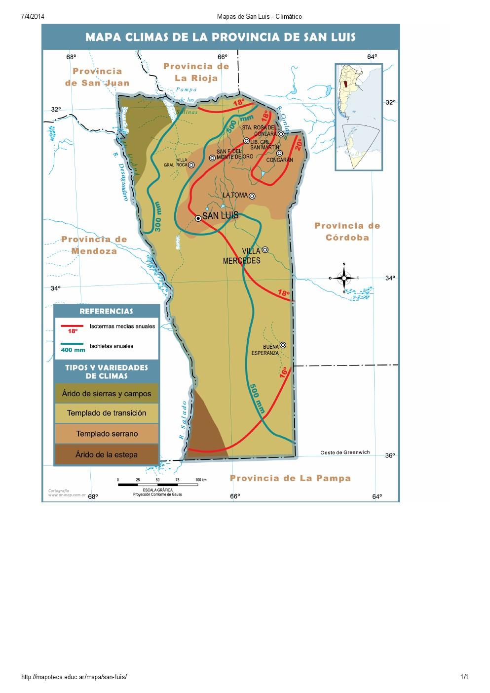Mapa climático de San Luis. Mapoteca de Educ.ar