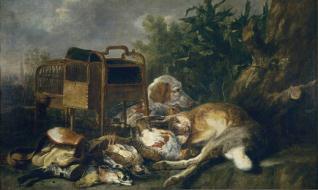 Caza muerta con un perro