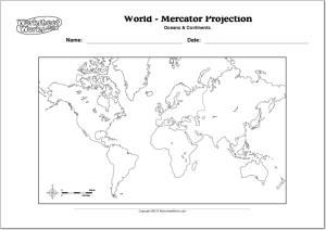 Mapa mudo de continentes y océanos del Mundo. WorksheetWorks