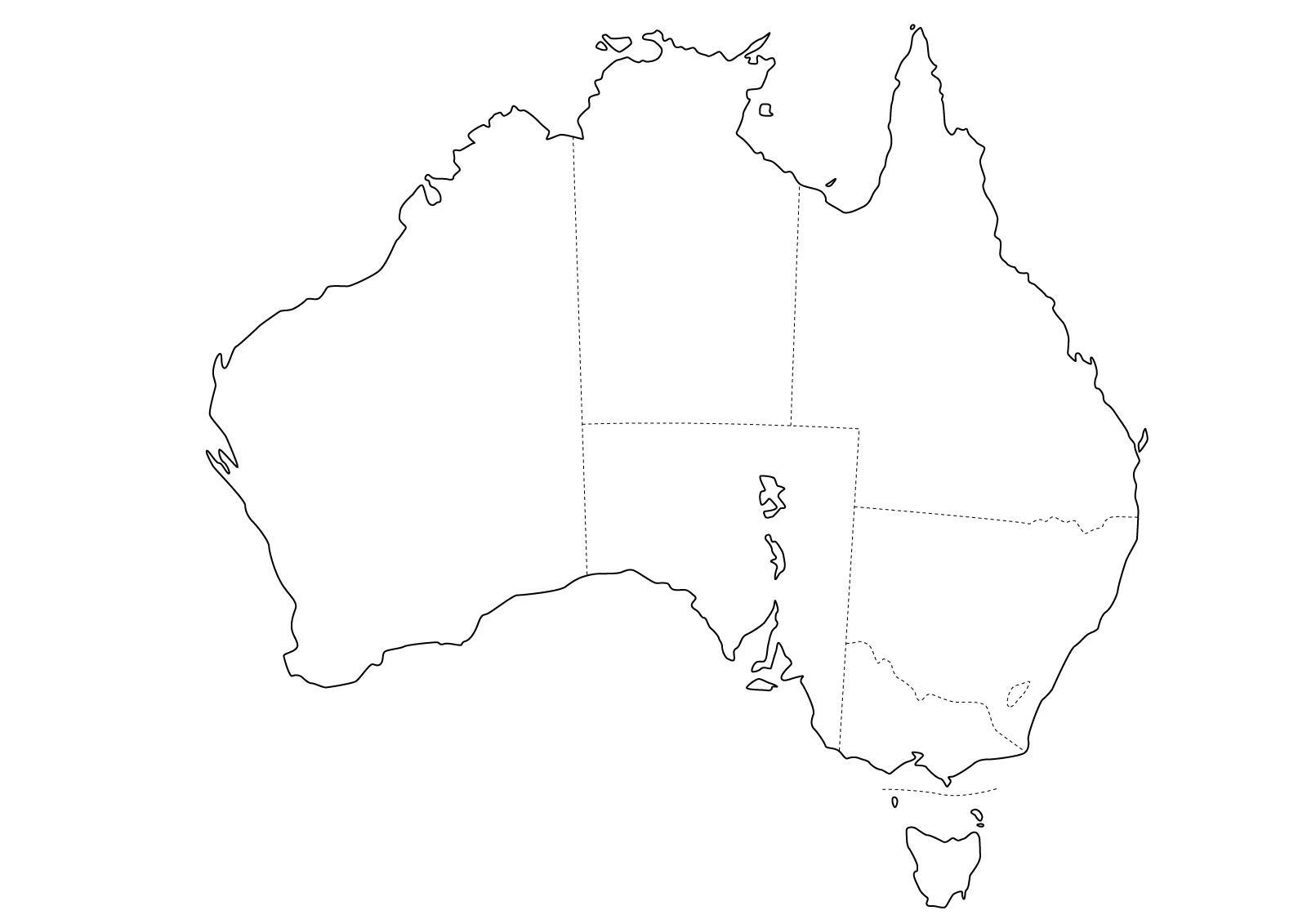 Mapa de estados de Australia. Freemap