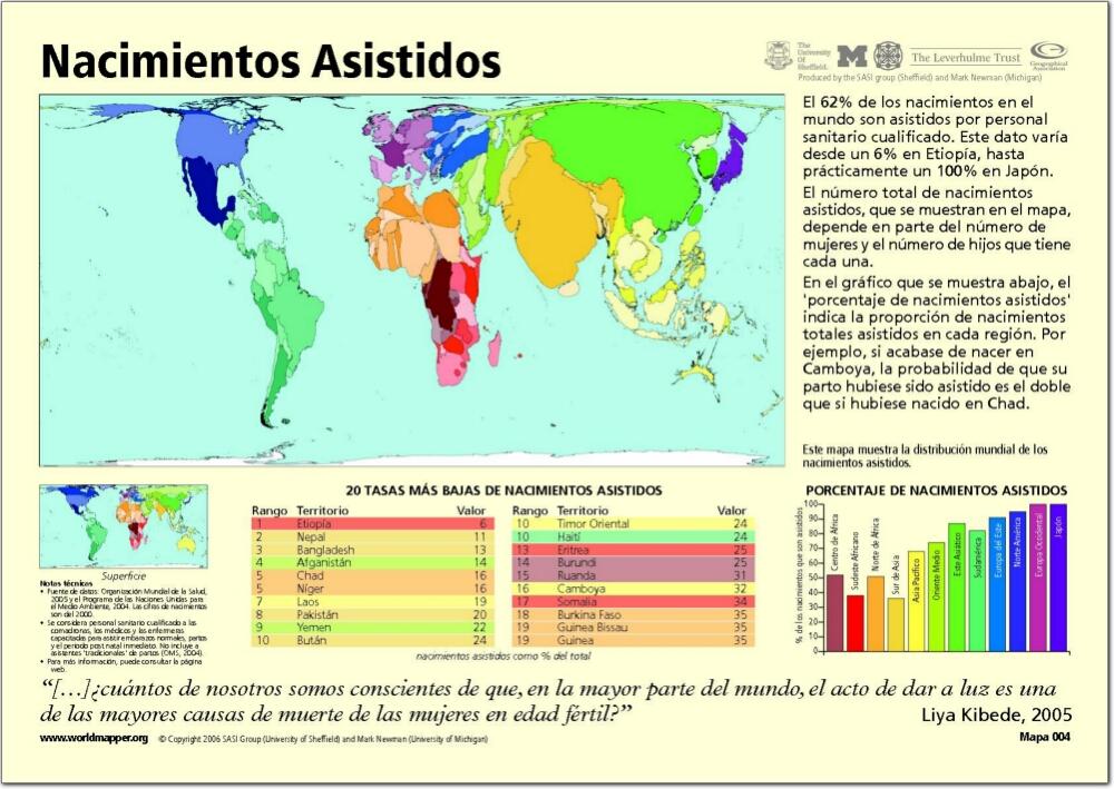 Mapa de países del Mundo. Nacimientos asistidos. Worldmapper