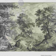 Paisaje con escenas de la caza del conejo