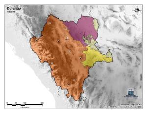 Mapa mudo de montañas de Durango. INEGI de México