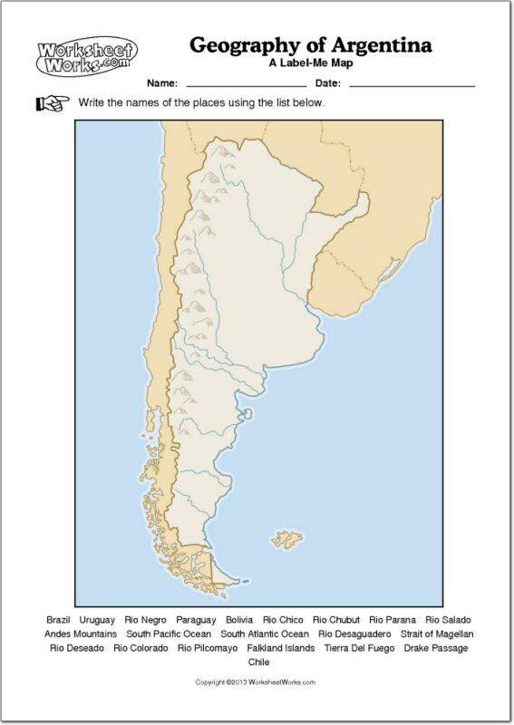 Rio Colorado Mapa Fisico.Mapa Fisico Mudo De Argentina Mapa Mudo De Rios Y Montanas