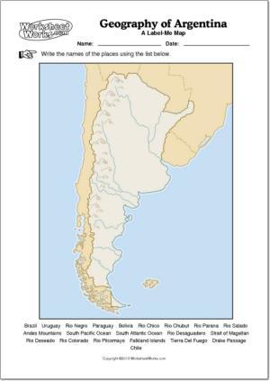 Mapa mudo de ríos y montañas de Argentina. WorksheetWorks