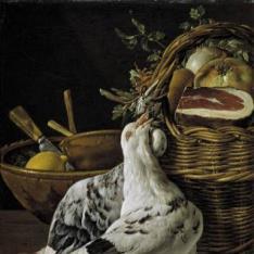 Bodegón: pichones, cesto y recipientes
