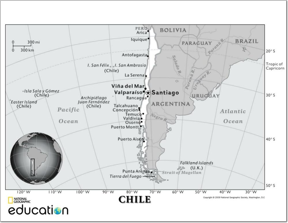 Mapa de ciudades y capitales de Chile. National Geographic