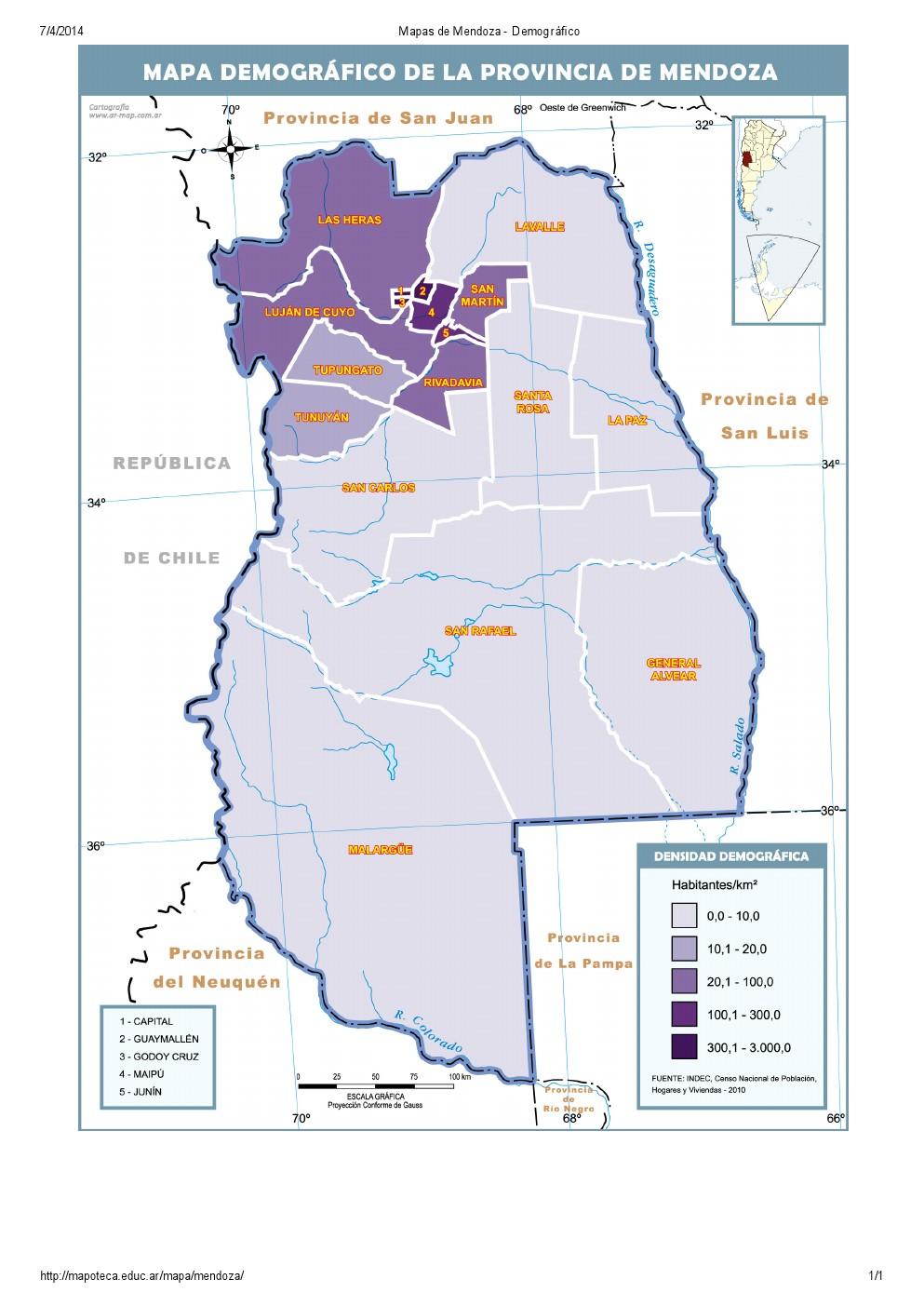 Mapa demográfico de Mendoza. Mapoteca de Educ.ar
