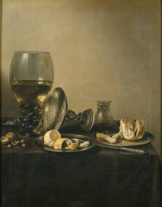 Bodegón con copa Römer, tazza de plata y panecillo