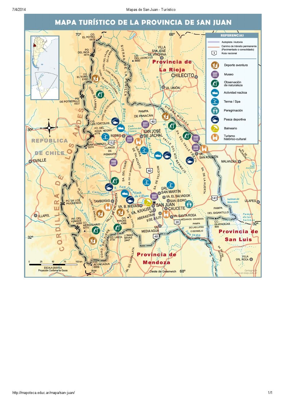 Mapa turístico de San Juan. Mapoteca de Educ.ar