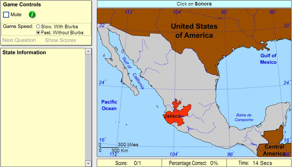 States of Mexico. Advanced Intermediate. Sheppard Software