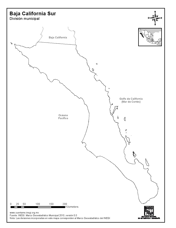 Mapa mudo de Baja California Sur. INEGI de México