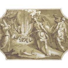 Diseño para un compartimiento: cuatro figuras conduciendo un ciervo al sacrificio en una hoguera en la que está ardiendo un toro