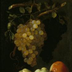 Bodegón de uvas y manzanas