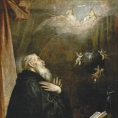 Visión de San Benito del globo y los tres ángeles