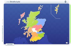 Regions of Scotland . Geography map games