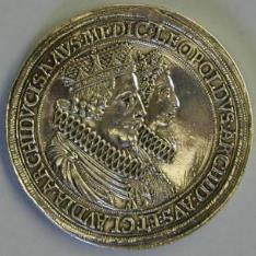 Doble thaler. Leopoldo I de Habsburgo y Claudia de Medicis, archiduques de Austria