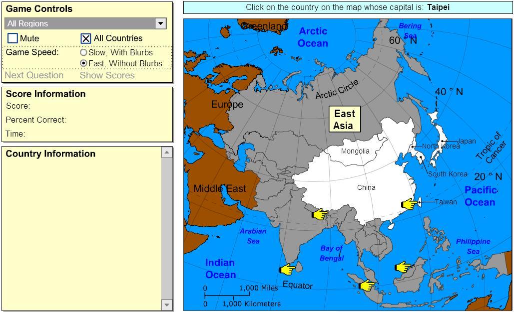 Capitals of Asia. Beginner. Sheppard Software