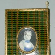 Carnet de baile con retrato de Madame de Pompadour