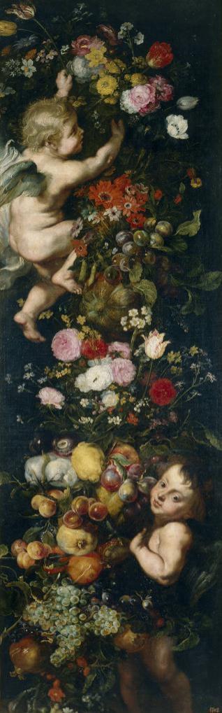 Festón de flores y frutas y angelotes