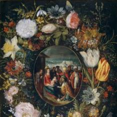 Guirnalda con la Adoración de los Reyes Magos