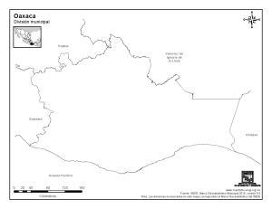 Mapa mudo de Oaxaca. INEGI de México