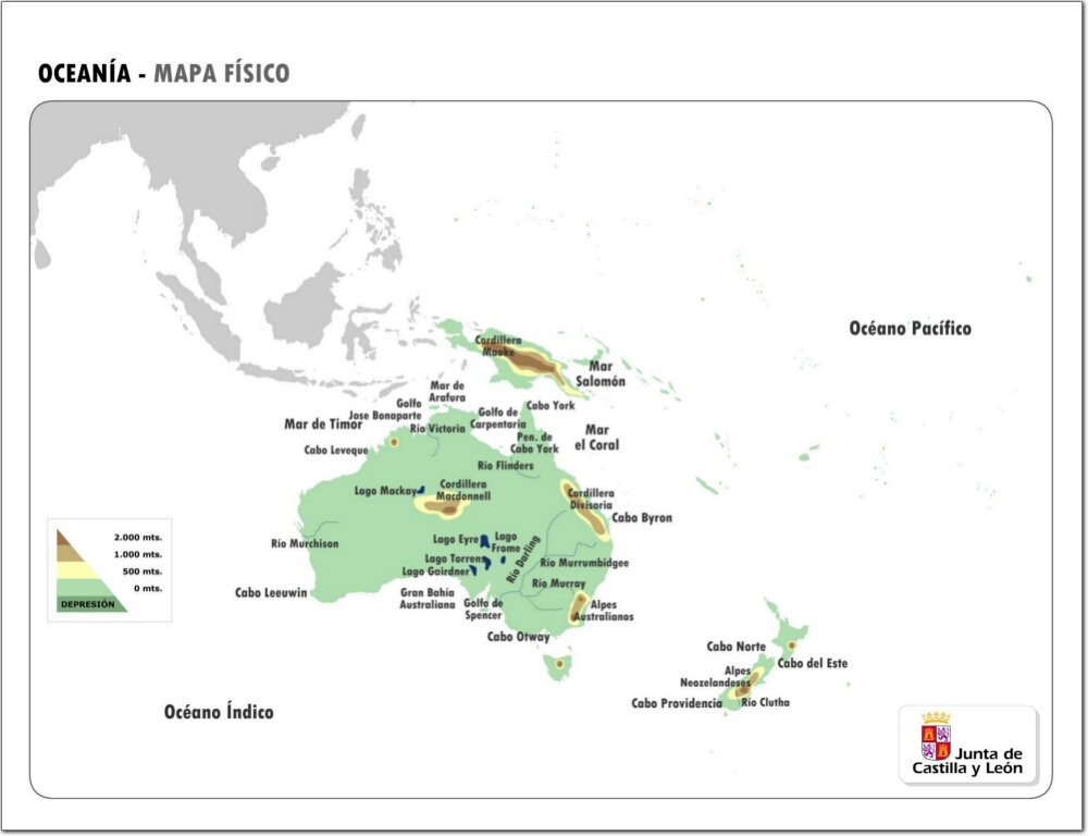 Mapa de relieve de Oceanía. JCyL