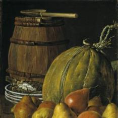 Bodegón: peras, melón, platos y barril