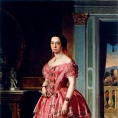 Retrato de dama en rosa y blanco