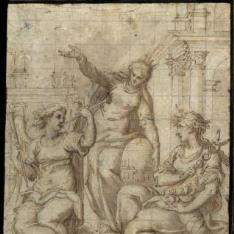 Composición alegórica con tres figuras femeninas