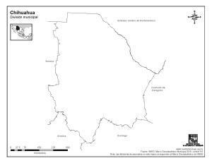 Mapa mudo de Chihuahua. INEGI de México