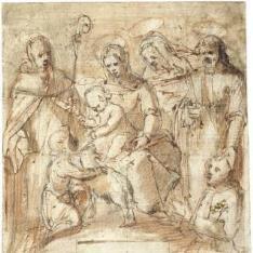 La Virgen y el Niño con San Juanito, acompañados por tres santos de pie y un donante arrodillado