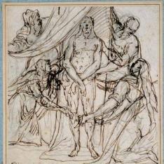 Las dos Marías adorando el Santo Sudario con las huellas del cuerpo de Cristo